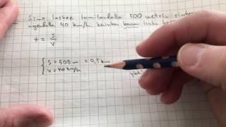 yläkoulun fysiikkaa: aika tasaisessa liikkeessä laskuesimerkki