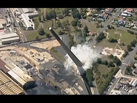 Epic Demolition: Giant iconic chimney toppled in Australia