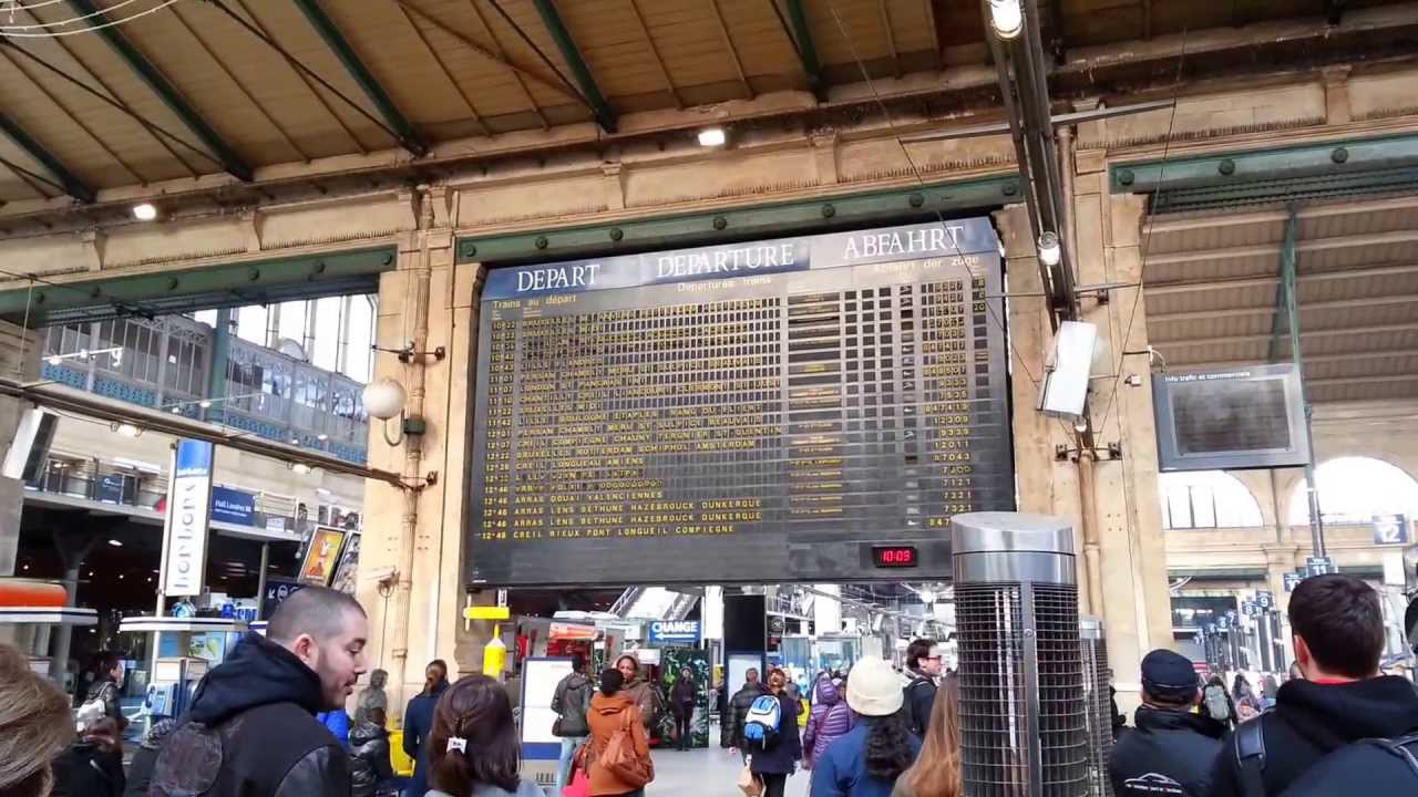 paris gare du nord train station departure board youtube. Black Bedroom Furniture Sets. Home Design Ideas