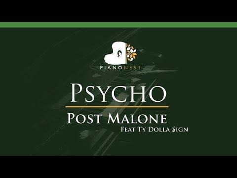 Post Malone Feat Ty Dolla Sign - Psycho - LOWER Key (Piano Karaoke / Sing Along)