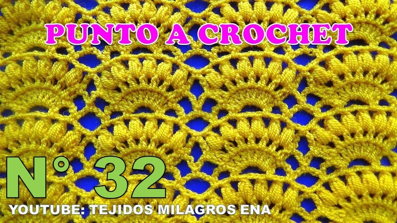 Punto a crochet Combinación de Abanicos con puntos Garbanzos paso a ...