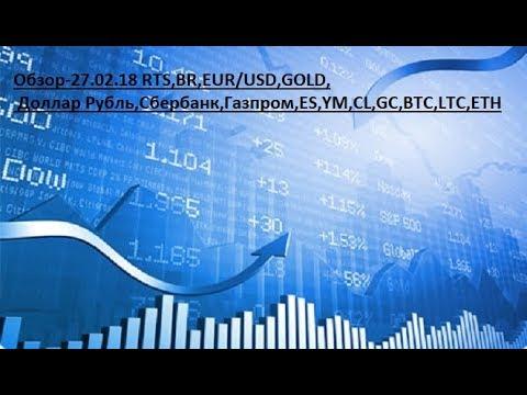 Обзор-27.02.18 RTS,BR,EUR/USD,GOLD, Доллар Рубль,Сбербанк,Газпром,ES,YM,CL,GC,BTC,LTC,ETH