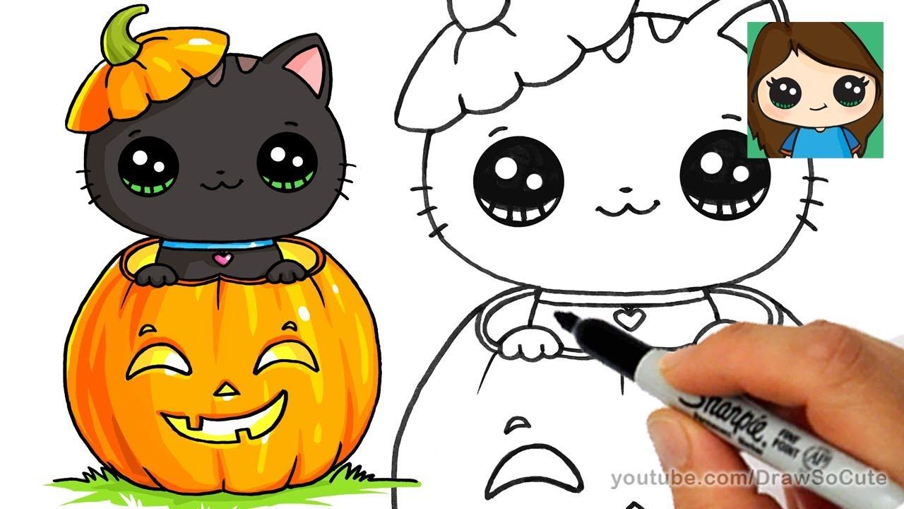how to draw a kitten for halloween easy - youtube