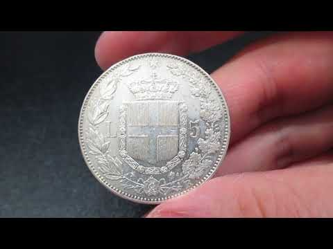 Moneta 5 Lire in Argento Re Umberto I di Savoia