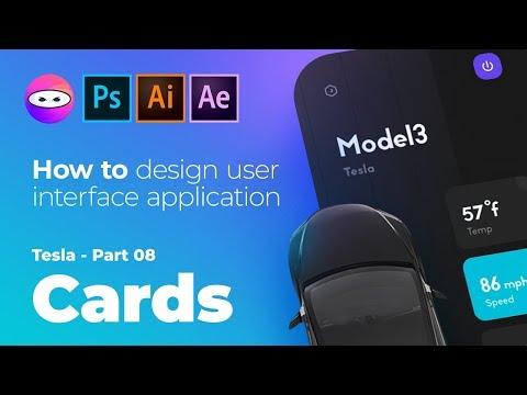 Tesla mobile app ui design, speed art photoshop tutorial 08, thumbnail