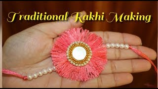 Simple and Traditional Rakhi Making/How to make designer Rakhi from silk thread.
