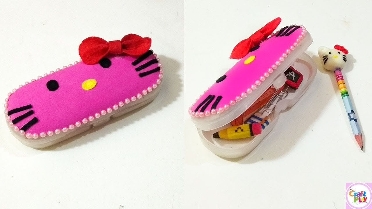 b83d6aa28 How to make HELLO KITTY Pencil Box / DIY - HELLO KITTY Craft - YouTube