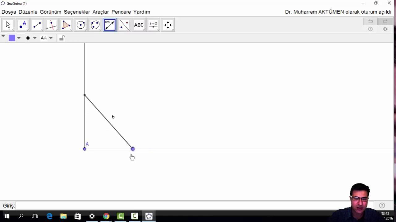 GeoGebra Dersleri - 7 (Çember, Model, Pisagor Bağıntısı)