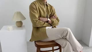 그레인 오버핏 린넨 셔츠 (mustard)