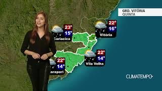 Previsão Grande Vitória -Chuva fraca nesta quinta