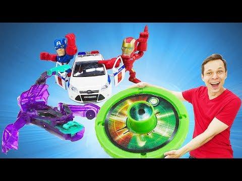 Видео игры - Дикие Скричеры в городе супергероев! - Игры с машинками в Автомастерской.