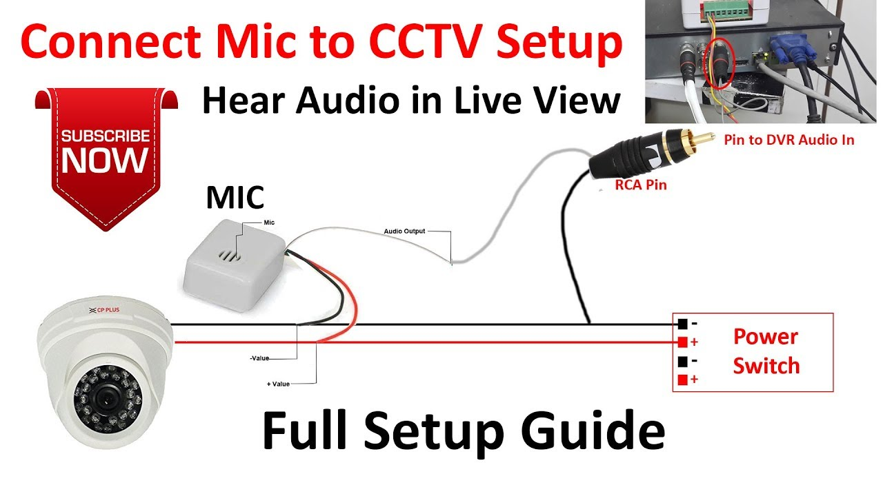 CCTV MIC Connection | Connect a Microphone to DVR | CCTV Mic Installation | DVR Mic  YouTube