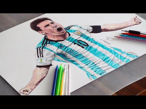 Messi Pen Drawing - Argentina - DeMoose Art