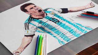 Messi Pen Drawing - Argentina - DeMoose Art