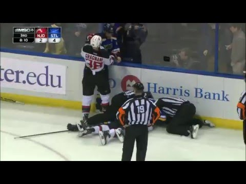 HD | Farnham hit Jaskin - Tootoo fight Reaves | NHL Devils vs. Blues