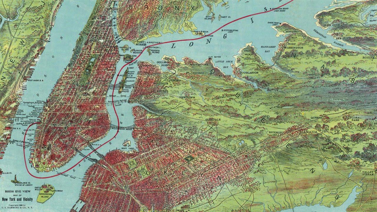 Vintage New York City Map 1909