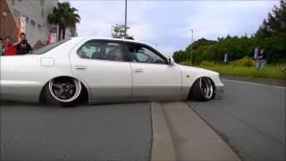 Slammed cars leaving car show in Japan