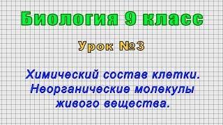 Биология 9 класс (Урок№3 - Химический состав клетки. Неорганические молекулы живого вещества.)