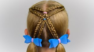 SIMPLE  hairstyle with braids and elastics. Quick and Easy hairstyle for girls #54