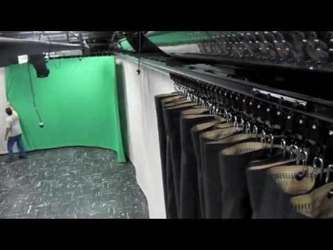 TV Studio curtains, TV Studio curtain track, TV Studio rigging hardware,