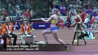 Michaela Meijer slow motion pole vault at European Indoor Championchips
