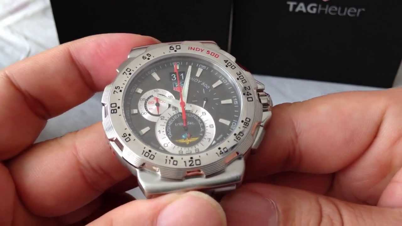 ... Heuer TGI500-10002 Indy 500 Big Date 1/10 Chrono SS/SS Black Swiss Qtz