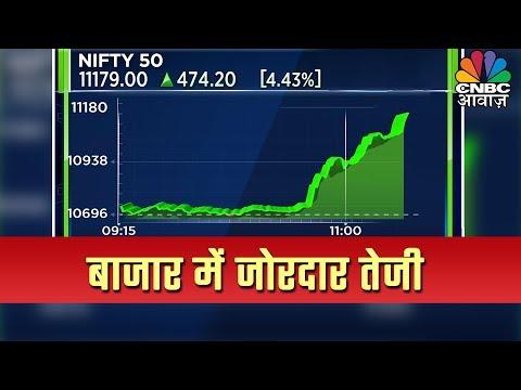 Market Live: टैक्स घटाने के फैसले से Sensex 1300 अंक उछला, Nifty 11000 के पार