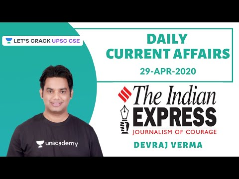 29-Apr-2020 | Daily Current Affairs | Indian Express News Paper | Crack UPSC CSE/IAS | Devraj Verma
