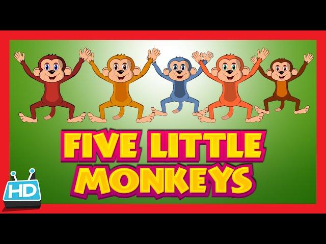 Five Little Monkeys Jumping On The Bed Nursery Rhyme | KidsHut