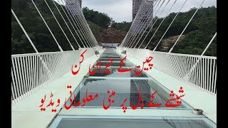 Tourists Brave Glass-Bottom Bridge| China glass bridge info in Urdu/Hindi | Amazing glass bridge.
