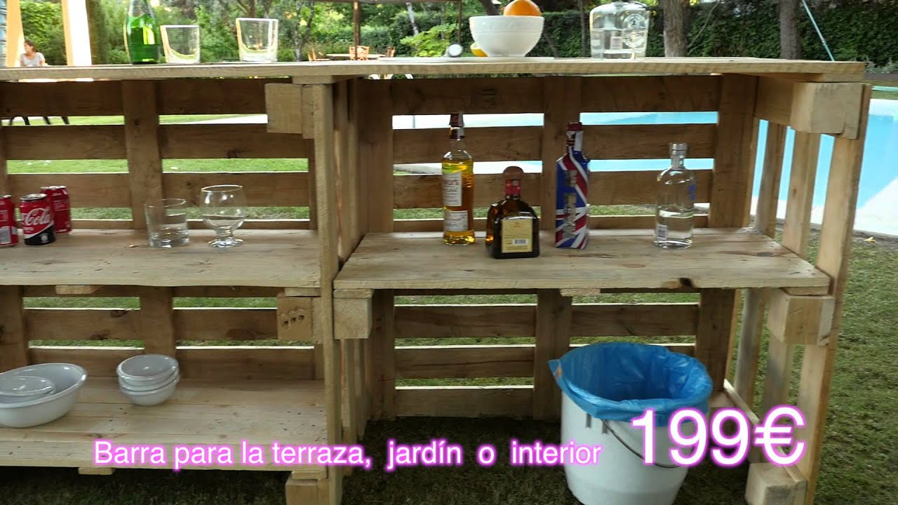 Barra para jard n youtube for Sillones con palets de madera