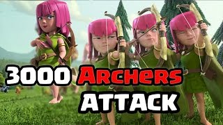Clash Of Clans 3000 Archers Raid (Massive Gameplay)