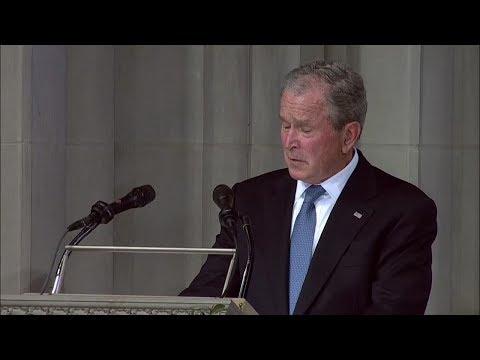 George W. Bush speaks at John McCains Washington DC funeral
