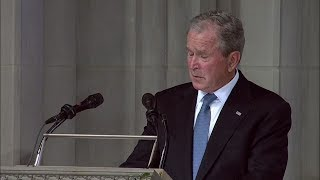 George W. Bush speaks at John McCain's Washington DC funeral