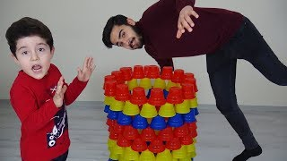 Bardak Kulesi Yıkıldı! Yusuf Pretend Play With Colored Cups-Funny Kids Video