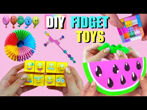 7 DIY FIDGET TOYS IDEAS – HOW TO MAKE EASY FIDGET TOYS AT HOME – Watermelon Pop it and more..