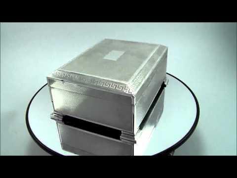 Vintage Art Deco 925 HM Sterling Silver Table Desk Cigarette Box Birmingham 1947 2