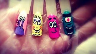 Рисуем Спанч Боба на ногтях Мультяшный Дизайн Ногтей Гель лаком Маникюр в стиле поп арт