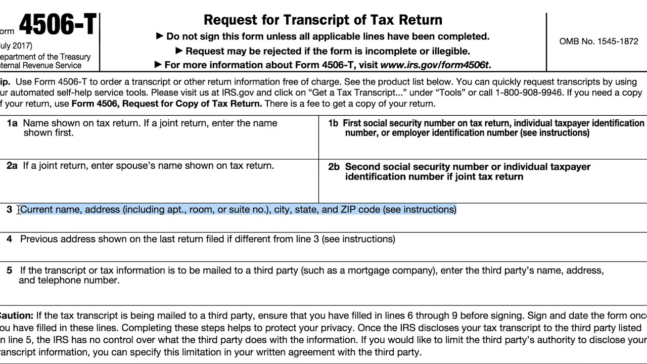 Irs Form 4506t Request For Transcript Of Tax Return Brian