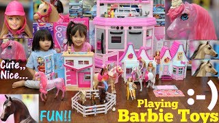Pink Dollhouse Playset. Pink Horses and Barbie Dolls Playtime. Toy Dolls Review. Toy Unboxing