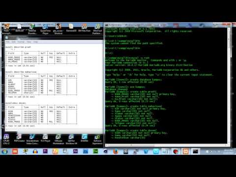 Create database, table, insert into table values, primary key & foreign key via cmd