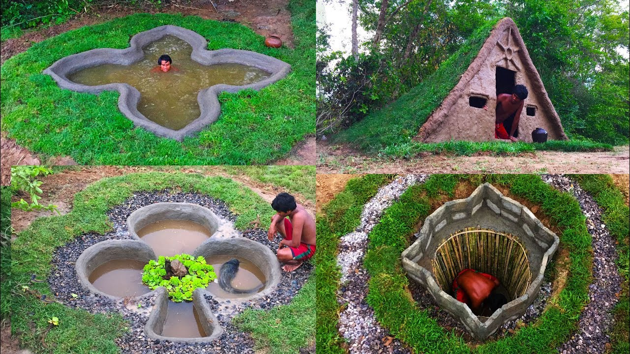 Secret of Primitive:Top 5 videos Building House,Swimming Pool,Groundwater And Fish Pond