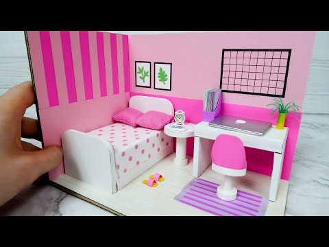 DIY Dollhouse with Cardboard, Pink Bedroom Decor