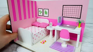 DIY Miniature Cardboard House #10    PINK Bedroom Decor