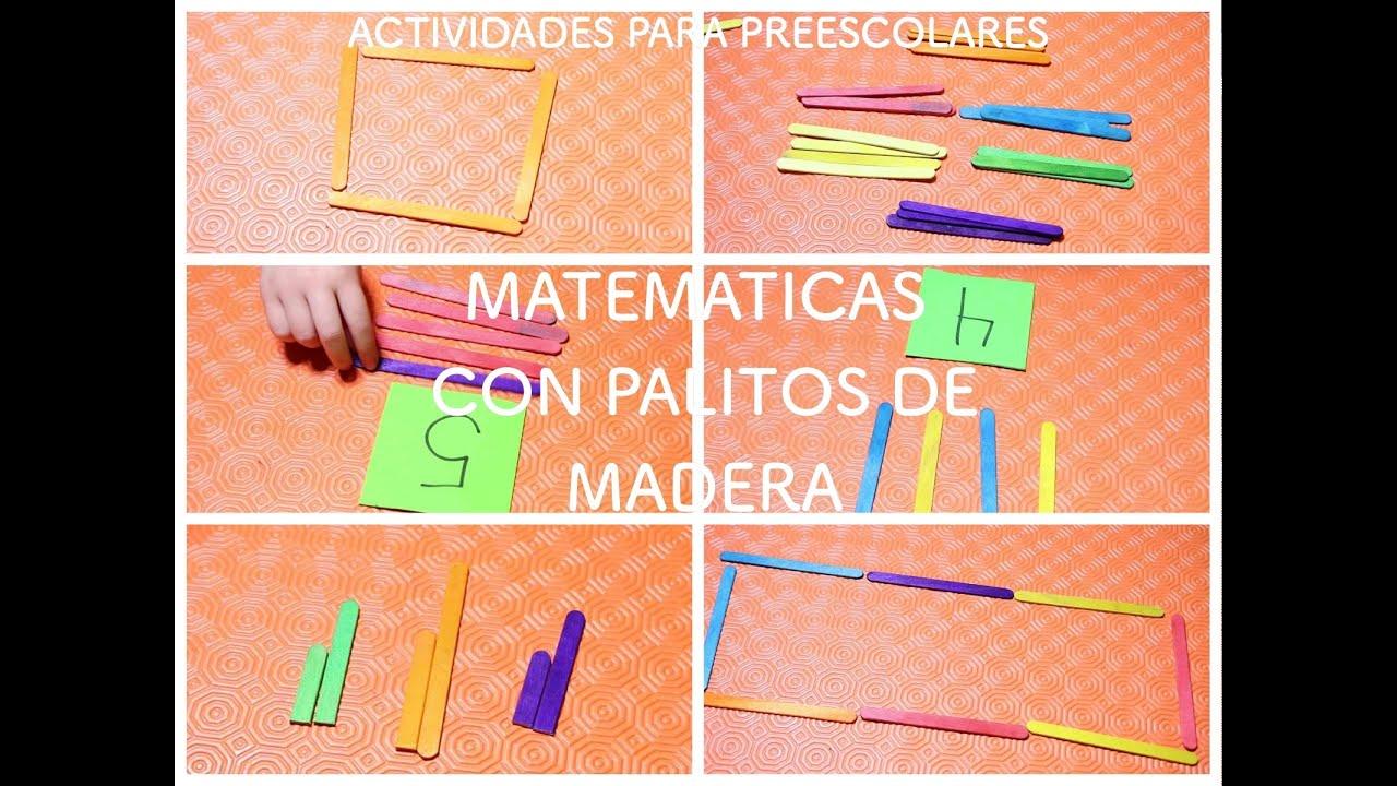 ACTIVIDADES PARA NIÑOS PREESCOLARES / MATEMATICAS CON PALITOS DE ...