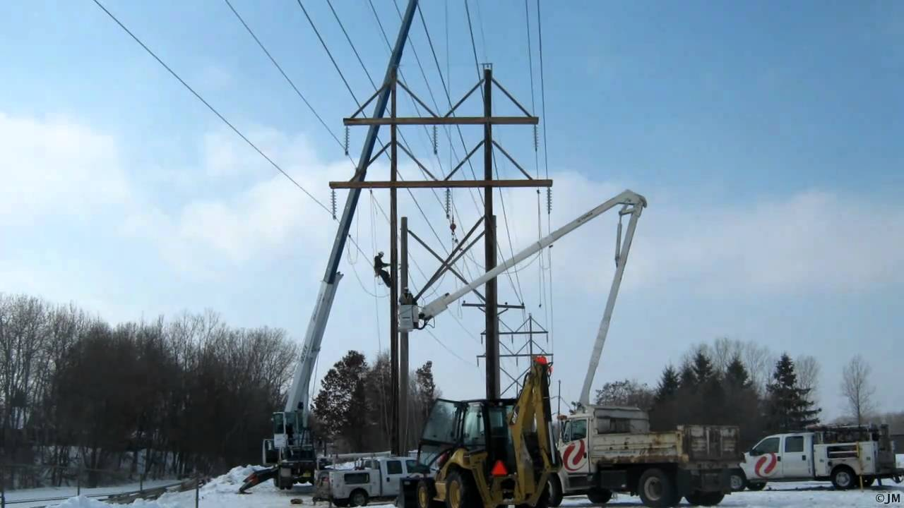 H Frame Transmission Power Pole : Power transmission pole replacement youtube