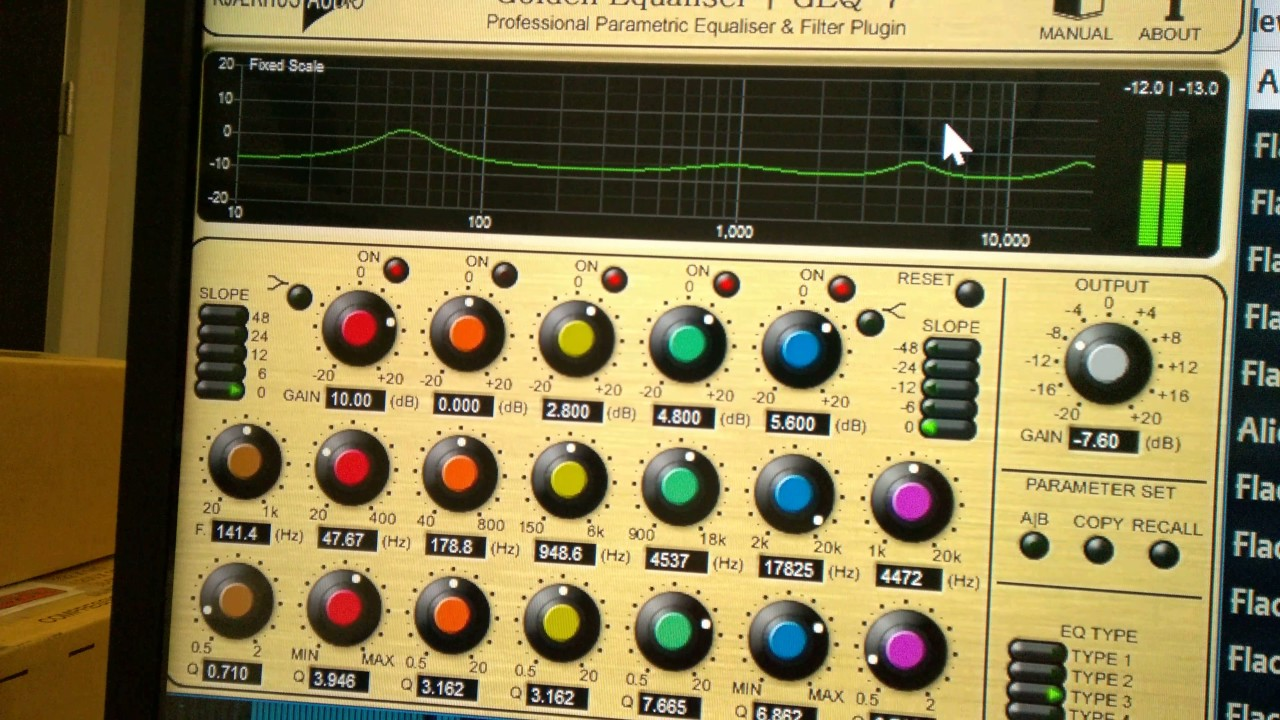 Foobar2000 with free VST Parametric eq