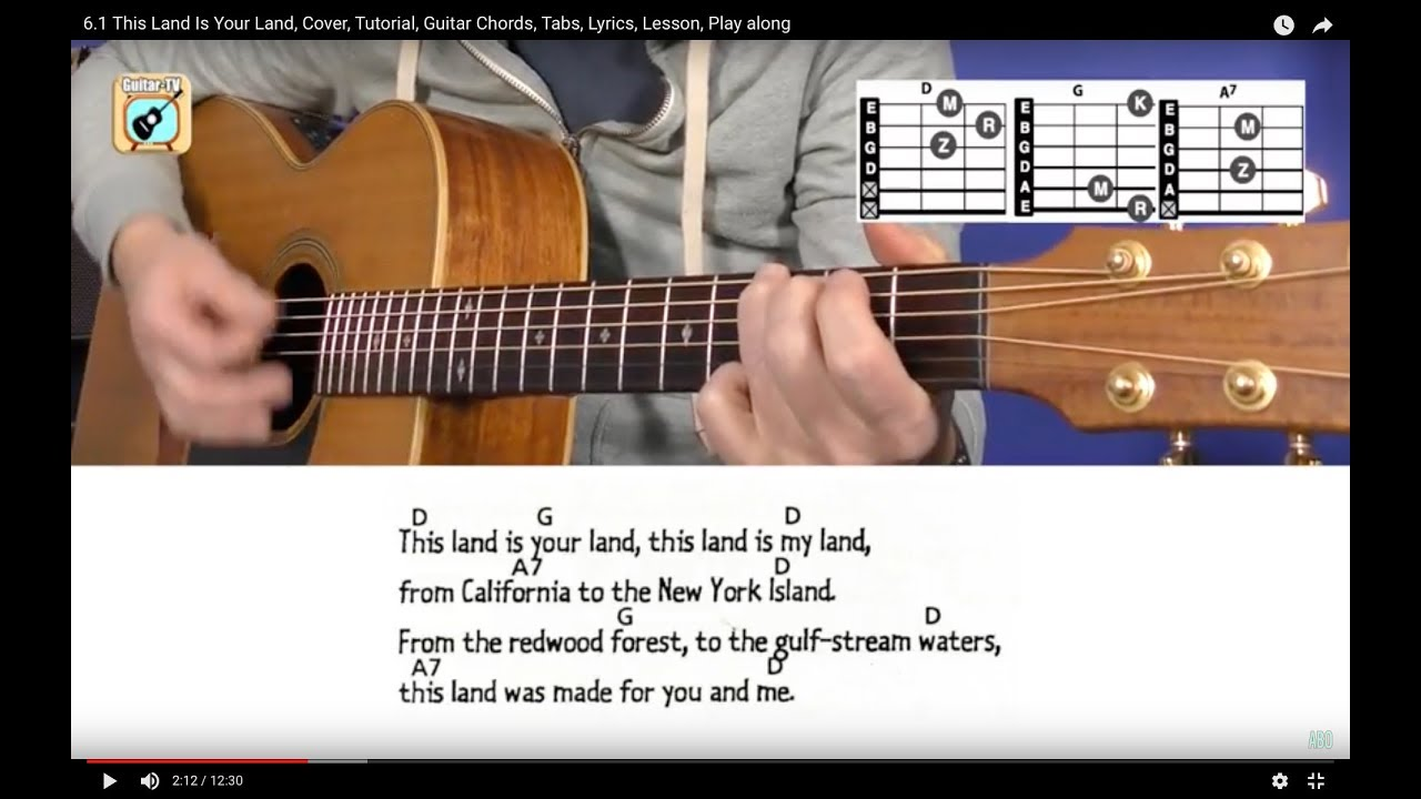 61 This Land Is Your Land Cover Tutorial Guitar Chords Tabs