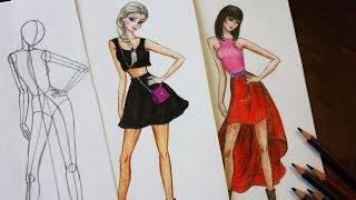 Fashion одежда / Как нарисовать современную Эльзу /  Уроки рисования