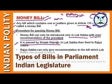 Types of Bills in Parliament : Ordinary Bill, Money Bill, Financial Bill, Constitution amendment